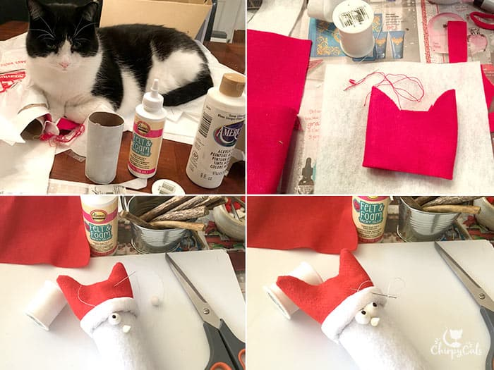 DIY instructions on making a cat snowman using felt and empty toilet paper rolls.